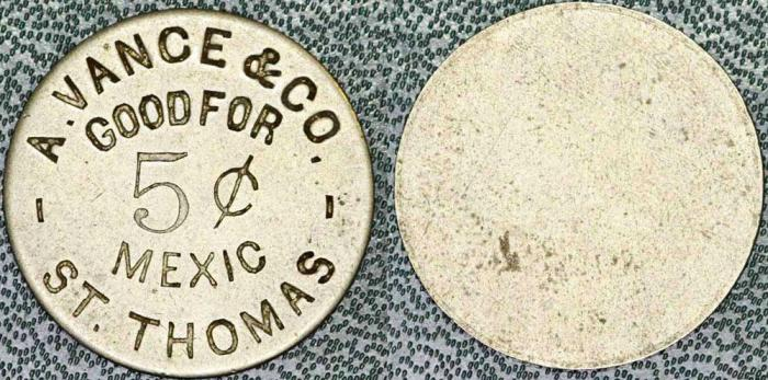World Coins - Danish West Indies. St. Thomas. N.d. A. Vance & Co. 5¢ Mexic Token. Nice Choice VF, Rare!