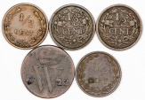 World Coins - Netherlands: Lot of 5 Coins: 1/2 cent 1822-1921. Fine-XF