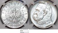 World Coins - Poland. II Republic (1918-1939). AR 10 Zloty 1937. NGC AU53 Nice AU