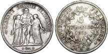 World Coins - France. III Republic. Silver 5 Francs 1875 A. VF