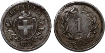 World Coins - Switzerland. Federation issue. AE 1 Rappen 1850 A. Choice VF