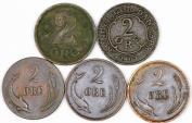 World Coins - Denmark. Lot of 5 Coins. AE 2 Ore 1874-1919. VF-XF+