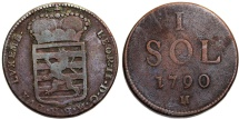 World Coins - Luxembourg. Austrian Rule under Franz II. Cu 1 Sol 1790H. aVF