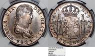 World Coins - Mexico. Fernando VII (1811-1822) . Guerra de Independencia. Zacatecas. Royalist Provincial type. NGC AU53, beauty