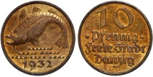 World Coins - Danzig. Free City. B-Al 10 Phennige 1932. Nice Choice AU