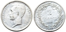 World Coins - Belgium. Kingdom. Alnert I. Silver 2 Francs 1911. Nice XF