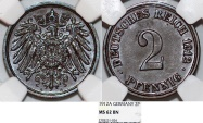 World Coins - Germany. Imperial Issue. Prussia. Wilhelm I. Cu 2 Pfennig 1912A. NGC MS62 BN
