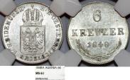 """World Coins - Austria. Franz Joseph I. AR 6 Kreuzer 1848 A. """"Spring Revolt"""". NGC MS61"""