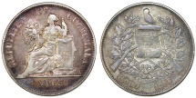 World Coins - Republic of Guatemala. AR Peso 1897. Toned XF.