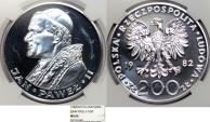 World Coins - Poland. SCARCE Silver 200 zloty 1982. Second visit to Poland of Pope John Paul II. NGC MS65