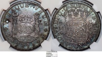 World Coins - MEXICO. Colonial. Carlos III of Spain (1759-1788). Beautiful AR 8 Reales 1771 Mo-FM. NGC XF Details/ chop marks, toned