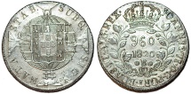 World Coins - Brazil (Bahia mint), 960 reis 1820B, Joao VI, 1820-B, struck over a Madrid, Spain, bust 8 Reales of Ferdinand VII. Toned Choice AU