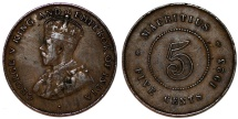 World Coins - British Colony: Mauritius. King George V. AE 5 Cents 1923. Good VF