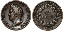 World Coins - France. Colonies of Central America. Louis-Philippe. AE 10 Centimes 1843. Choice VF