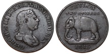 British (Sri Lanka) CEYLON. George III. AE 2 Stivers 1815. VF, RARE