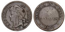 World Coins - Chile. CU 2 Centavos 1879. AVF