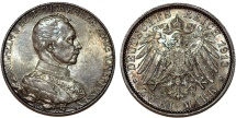 World Coins - Germany Empire. Prussia. Wilhelm II (1888-1918). Commemorative Silver 2 Mark 1913 A. UNC, toned.