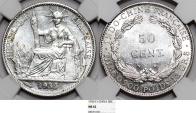 French Indo-China. Colonial Issue. Silver 50 Cents 1936. NGC MS62
