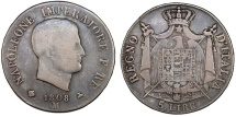 World Coins - French rule. Italian Kingdom of Napoleon Bonaparte (1804-1814). AR 5 Lire 1809 B. Fine+/AVF