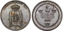 World Coins - Sweden. King Oskar II (1872-1907). AE RARE 5 Ore 1879. Choice XF