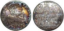 World Coins - Poland. Marienberg. Sigismund III (1587-1632). Silver 3 Groschen 1593. Choice VF, toned
