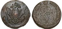 World Coins - Imperial Russia. Catherina II (1764-1796). Copper 5 Kopecks 1778 EM. Choice  XF