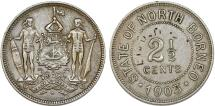 World Coins - British North Borneo. CU-NI 2 1/2 Cents 1903 H. About  XF
