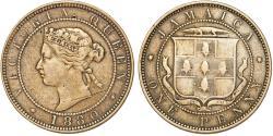 World Coins - British Jamaica. Queen Victoria. CuNi 1 Penny 1880. VF