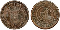 World Coins - Spain. Phillip V (1700-1746). AE 4 Maravedis 1719. about VF