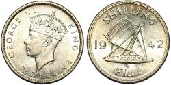 World Coins - British Administration. Fiji. George VI. AR Shilling 1942-S. Choice  UNC