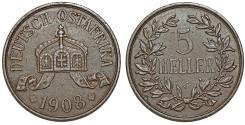World Coins - Germany East Africa. Wihelm II. AE 5 Heller 1908J. Choice XF