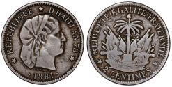 World Coins - Republic of Haiti , SINCE 1863. AE 2 Cents AN78 (1881). aVF