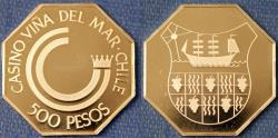 World Coins - Chile. Commemorative Casino Token of 500 Pesos from Casino Vina der Mar. Proof!