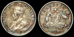 World Coins - British Commonwealth Australia. AR 3 Pence 1934. Choice VF, toned