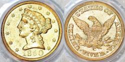 Us Coins - USA. Charlotte. Liberty Head $5 1850-C. PCGS AU55!