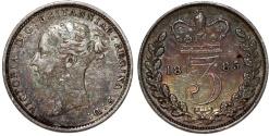 World Coins - Great Britain. AR 3 Pence 1885. Choice AU, toned