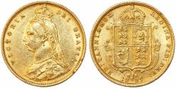 World Coins - Great Britain. Queen Victoria (1837-1901) Gold Half Sovereign 1887. Good AU