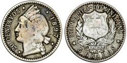 World Coins - Dominican Republic. AR 20 Centavos 1897. aVF.