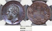 World Coins - Sweden. Carl XV Adolf. AE 2 Ore 1867. NGC MS64 BN, Beauty!