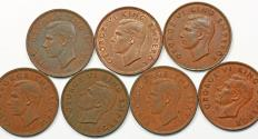 World Coins - New Zealand. George VI. Lot of 7 Pennies 1941 to 1952. XF to AU+