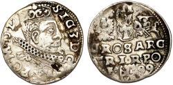 World Coins - Poland. Rzeczypospolita. Wschowa. king Sigismund III. AR 3 Gross 1599. About VF