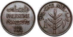 World Coins - Palestine. British Administration. AE 1 Mil 1939. Choice XF