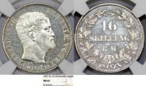 World Coins - Denmark. Frederik VII. Silver 16 Skilling Rigsmont 1857. NGC MS62