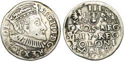 World Coins - Poland. Rzeczypospolita. Poznan. king Sigismund III. AR 3 Gross 1590, Fine+