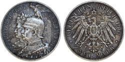 World Coins - Germany. Kingdom of Prussia. king Wilhelm II (1888-1918) Silver 2 Mark 1901. Toned XF