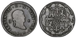 World Coins - Spain. Ferdinand VII. CU 8 Maravedis 1818. VF