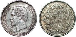 World Coins - France. Napoléon III (1852-1870). AR 20 Cents 1860/50A. Choice XF, toned.