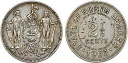World Coins - British North Borneo. CU-NI 2 1/2 Cents 1903 H. About  XF