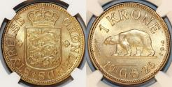 World Coins - Greenland. AL-AE 1 Krone 1926. NGC MS63