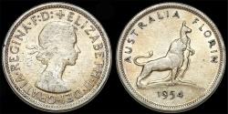 """World Coins - Australia. Elizabeth II. AR Florin 1954 """"Royal visit"""". XF+"""
